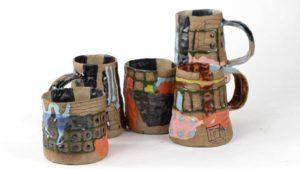 Collection of handmade ceramic pieces made by Eva Conrad.